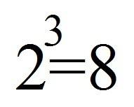 2^3=8