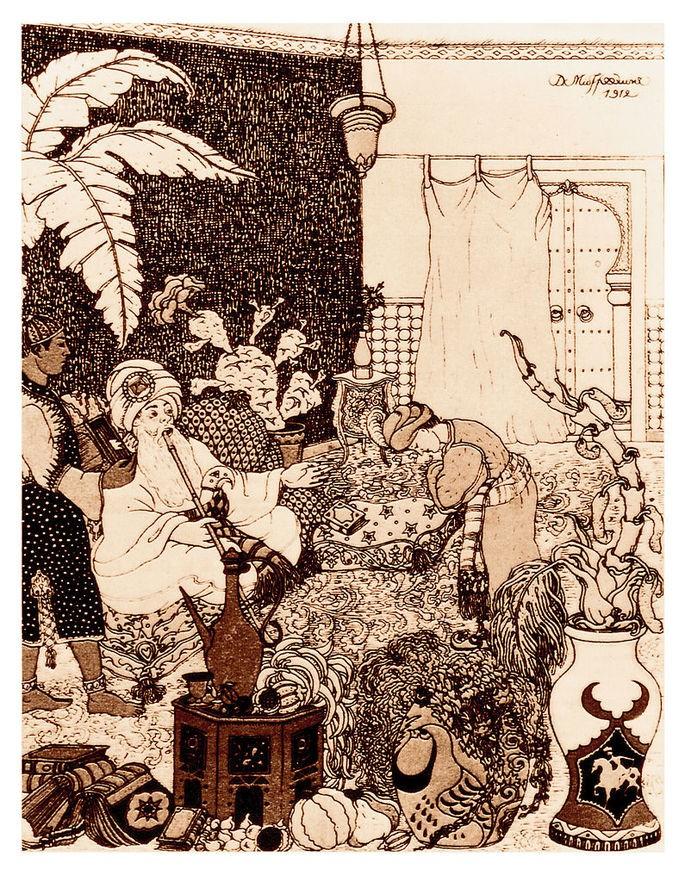 Иллюстратор Дмитрий Исидорович Митрохин, книга 'История Альмансора' Вильгельма Гауфа, 1912 г.