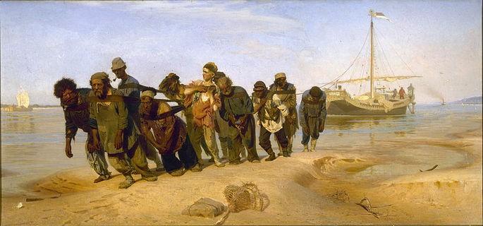 'Бурлаки на Волге', Илья Ефимович Репин, 1870 — 1873 гг.
