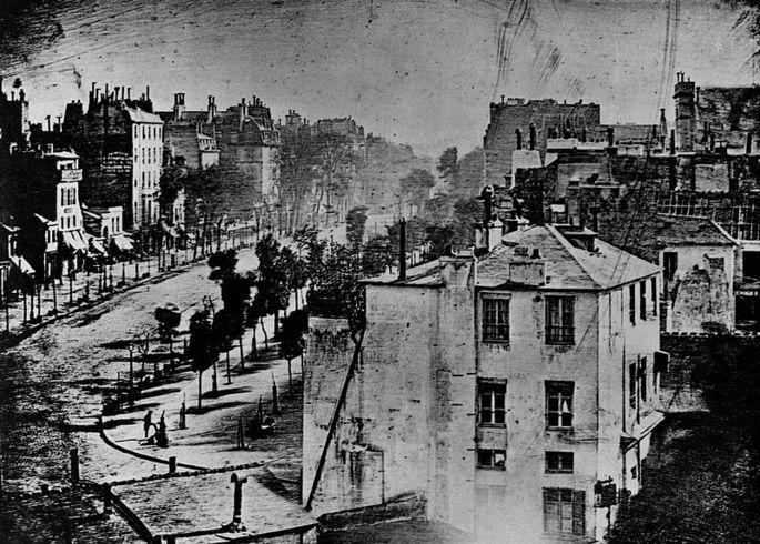 Изображение бульвара дю Тампль в Париже (дагеротипия).