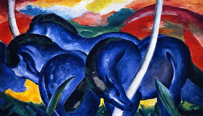 'Большие голубые лошади', художник Франц Марк, 1911 г.
