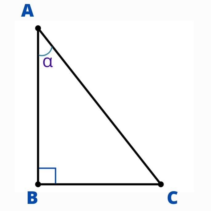 прямоугольный треугольник ABC с углом α в вершине A
