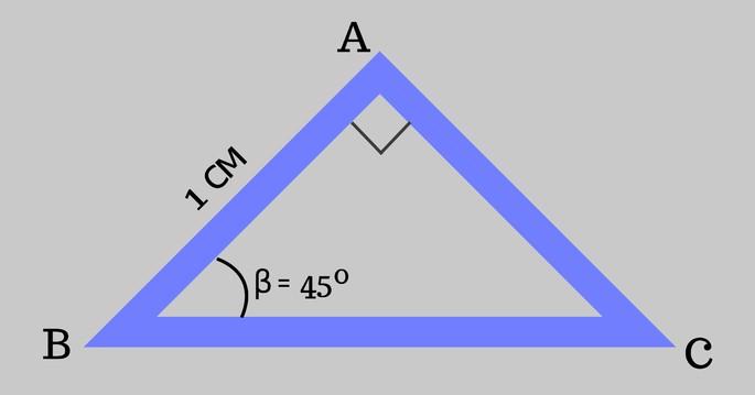 Треугольник ABC, AB = 1 и ∠β = 45º, ∠𝐴 прямой