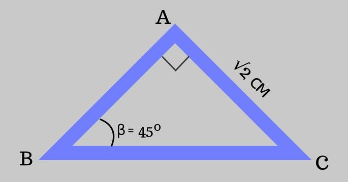 Треугольник ABC, 𝐴𝐶 = √2 и ∠β = 45º, ∠𝐴 прямой