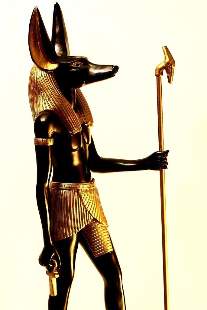 Изображение Анубиса со скипетром богов Уас и иероглифом 'анк'