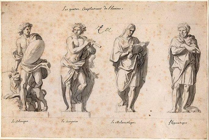 Типы темперамента слева направо: холерик, сангвиник, меланхолик, флегматик.  Подготовительный рисунок пером для скульптур, часть серии 'Четыре темперамента', по заказу Людовика XIV, 1674 г.