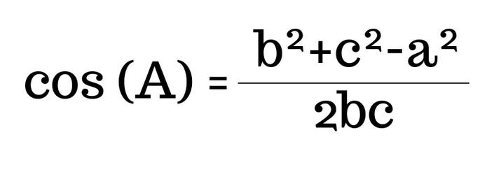 cos(A)=(b² + c² -a²)/2bc