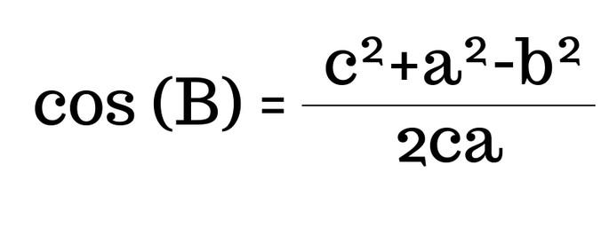 cos(B)=(c² + a² -b²)/2ca