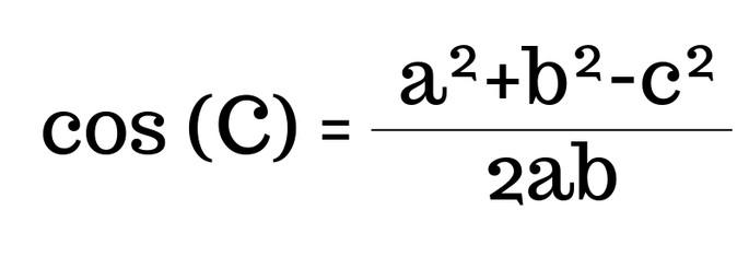 cos(C)=(a² + b² -c²)/2ab