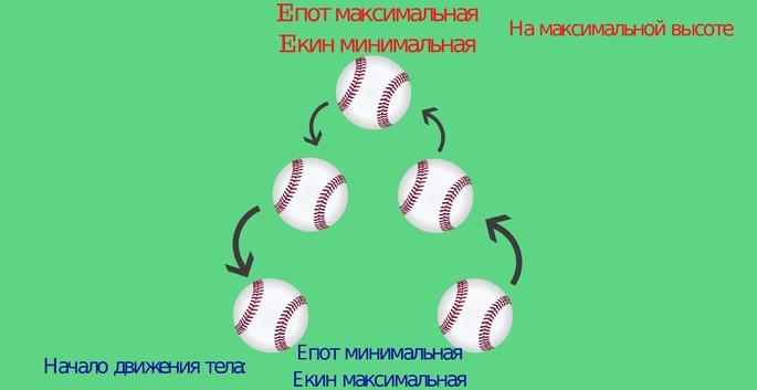 Преобразование энергии: рисунок потенциальной и кинетической энергии, Пример закона сохранения энергии: бейсбольный мяч подбрасывается вверх, вся кинетическая энергия превращается в потенциальную