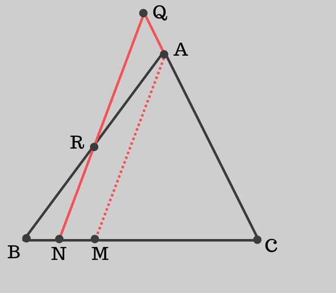 треугольник АBC, точка R на АB, AQ - продолжение АC, QN параллельна AM, N и M на стороне BC
