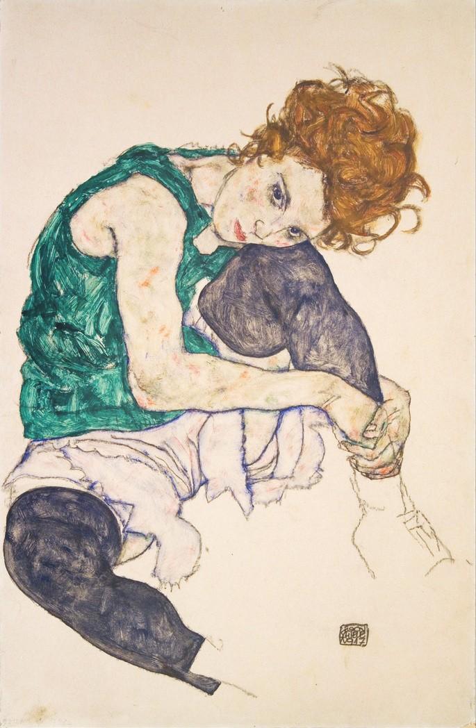 'Сидящая женщина с задранными ногами', художник Эгон Шиле, 1917 г.