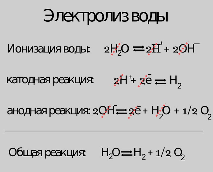 Электролиз воды Н2О = Н2 + 1/2 О2