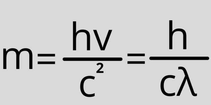 Масса фотона формула m = hv/c² = h/cλ