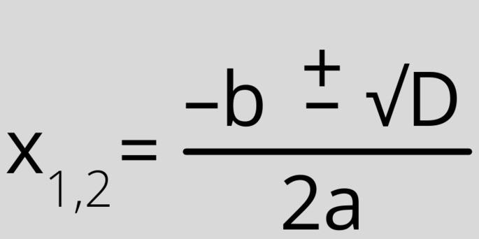 корни квадратного уравнения формула X1,2 = ((–b) ±√D)/(2×(a))