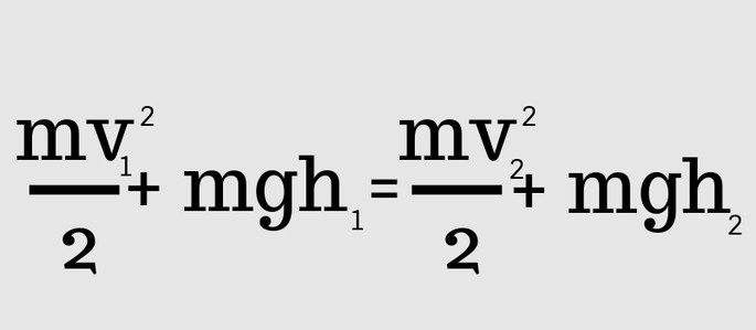 (mv1²) / 2 + mgh1 = (mv2²) / 2 + mgh2
