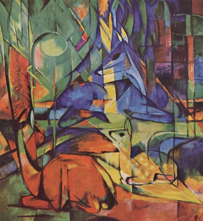 'Олень в лесу', художник Франц Марк, 1914 г.