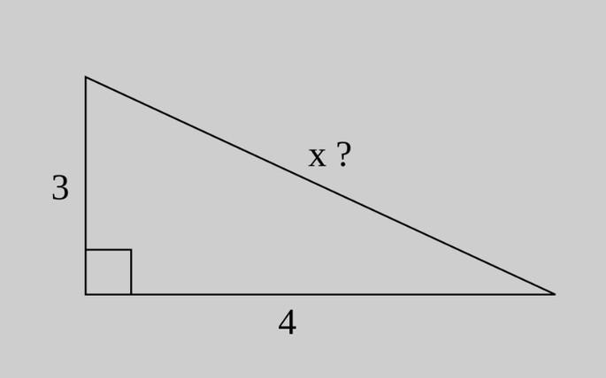 прямоугольный треугольник: один катет-3, другой катет - 4, гипотенуза-х?
