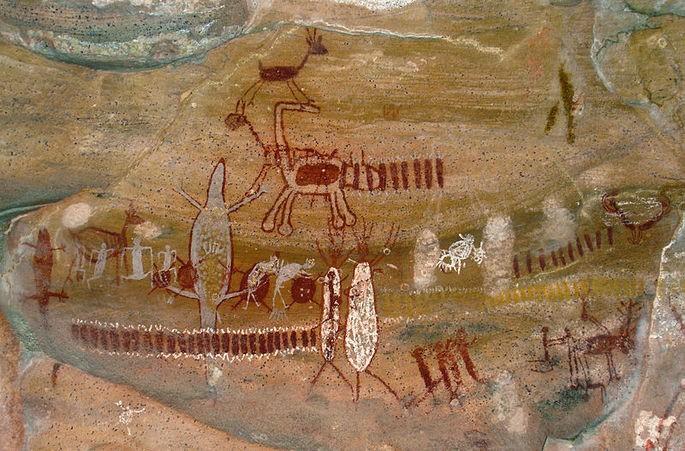 Наскальные рисунки в Национальном парке Серра-да-Капивара в Бразилии