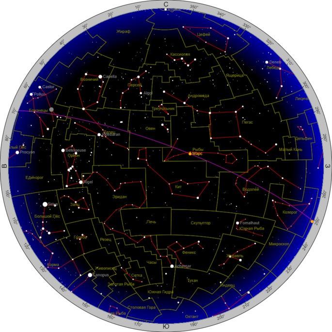 Интерактивная карта неба с созвездиями, видимыми на 2 декабря 2020 года