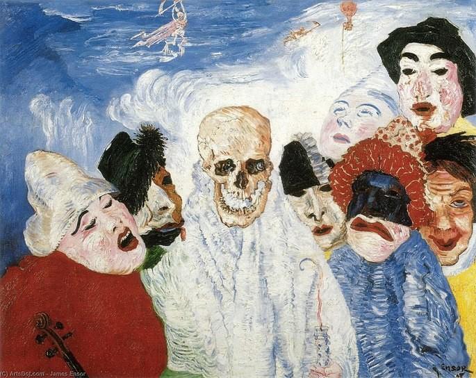 картина череп в центре в окружении человеческих масок, Маски, противостоящие смерти