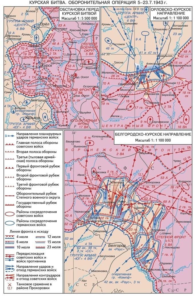Курская битва схема расположения войск на начало Курской битвы