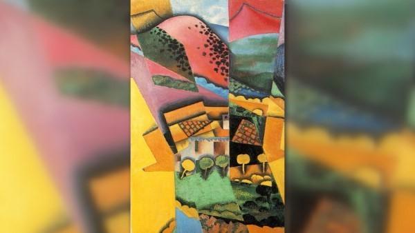 Пейзаж с рекой Серет Хуан Грис кубизм