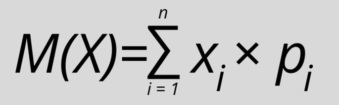 Математическое ожидание дискретной случайной величины рассчитать формула:  M(X)=∑ Xi×Pi