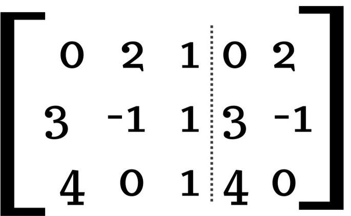 найти определитель матрицы 3 × 3 шаг 2