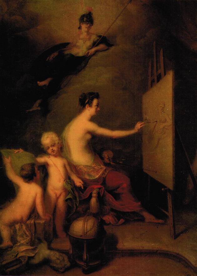 Картина 'Аллегория живописи', А. М. Матвеев, 1725 г., находится в Государственном Русском музее.