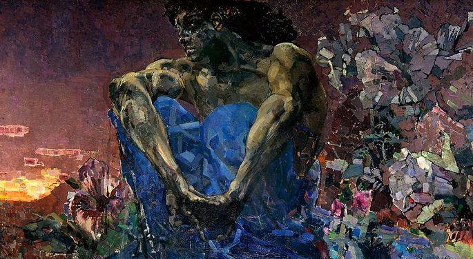 Картина 'Демон (сидящий)', 1890 г., художник М. А. Врубель  (1856 – 1910)