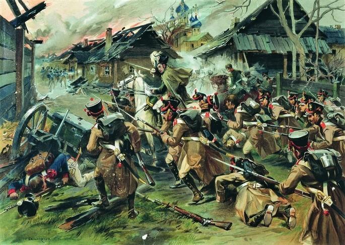романтизм Николай Самокиш. Бой за Малоярославец 12 октября 1812 года