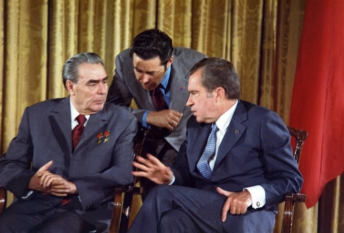 Фотография встречи Леонида Брежнева и Ричарда Никсона в 1973 году