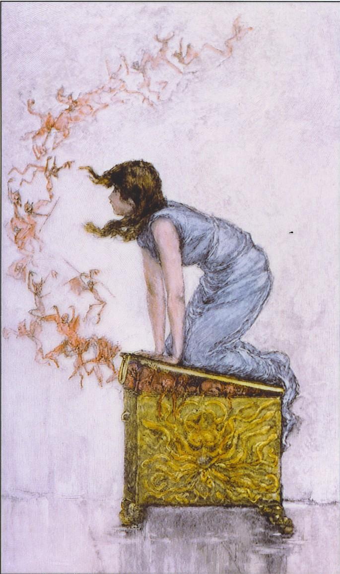 'Пандора пытается закрыть ящик', автор Фредерик Стюарт Чёрч (1842–1924)