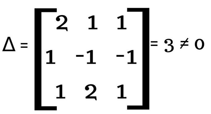 Метод Крамера шаг 1 найти главный определитель