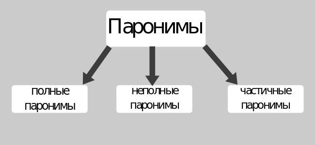 деление паронимов по степени близости полные неполные частичные
