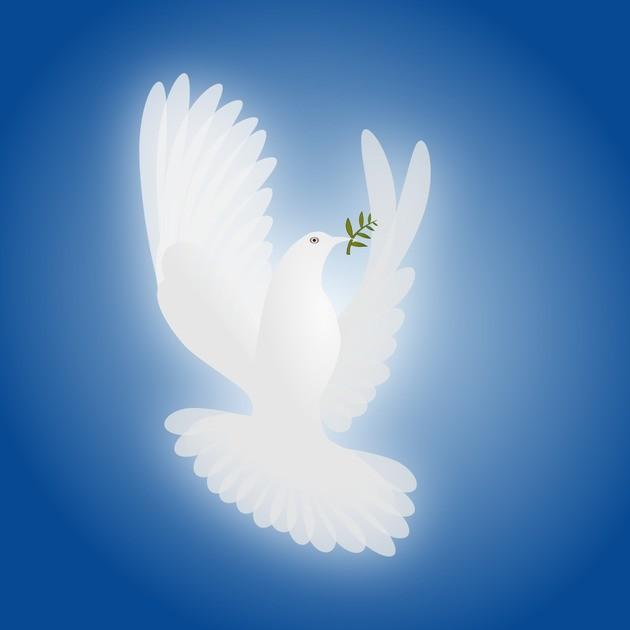 Аллегория мира — белый голубь.