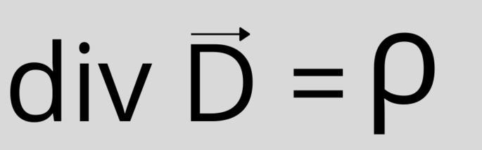 Первое уравнение Максвелла (в дифференциальной форме): div D = ρ