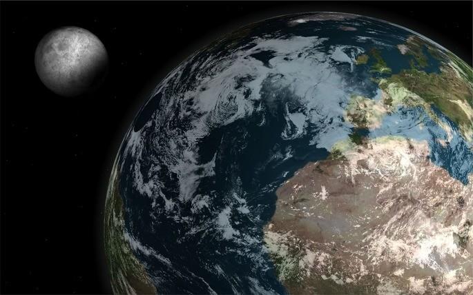Земля со своим спутником Луной