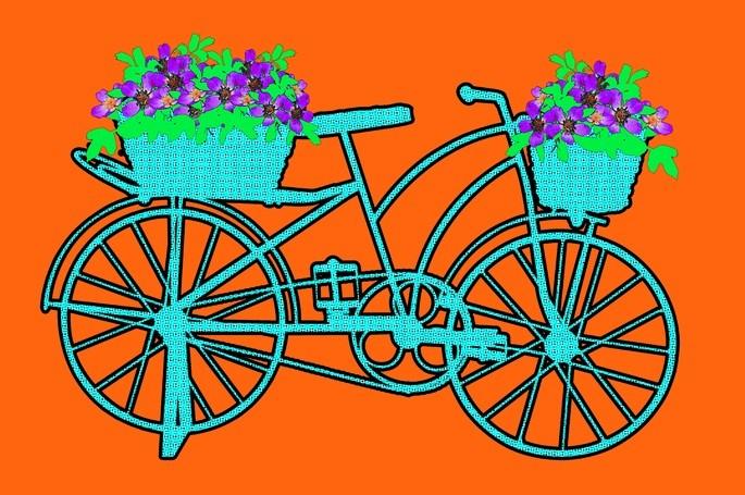 Пример произведения эпохи поп-арта: ярко-голубой велосипед на ярко-оранжевом фоне с зелёно-фиолетовыми цветами в корзине