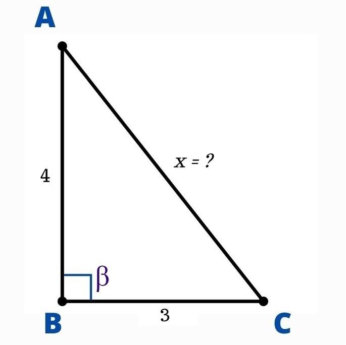 Треугольник ABC: гипотенуза AC лежит напротив прямого угла β, катеты BC = 3cm и AB = 4cm