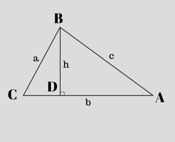 Доказательство теоремы косинусов, Треугольник ABC, из B проведена линия до AC, показано точкой D, так, что угол D прямой