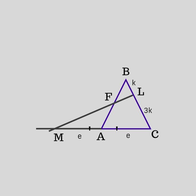 треугольник ABC, линия ML пересекает AB в точке F и BC в точке L, третья сторона AC продолжена до пересечения (точка пересечения M)