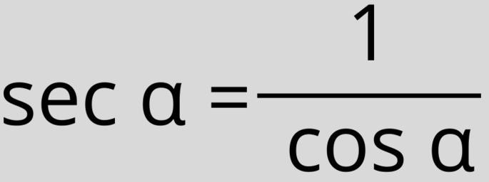 Секанс, sec, sec x, sec α = 1 / cos α