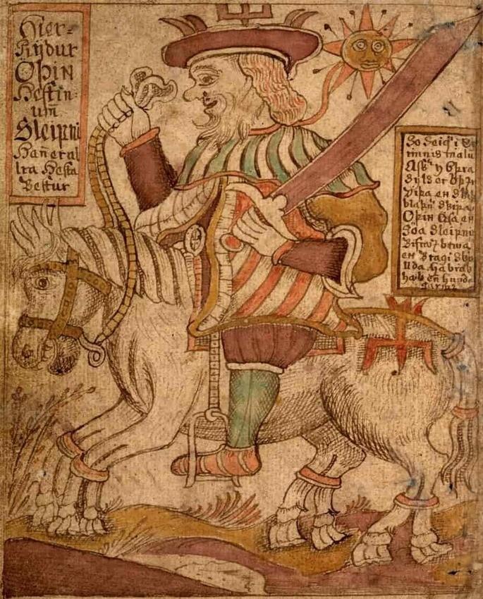 'Один едет на Слейпнире'  Иллюстрация в исландской рукописи XVIII века