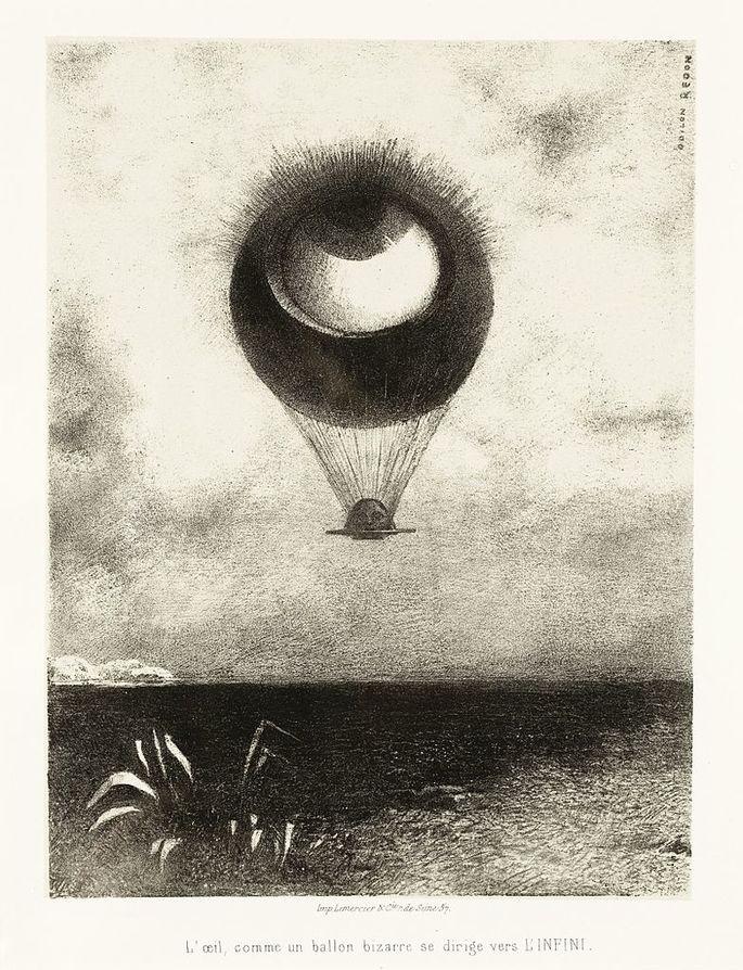 'Глаз, как странный шар, направляется в бесконечность', художник Одилон Редон, 1882 г.