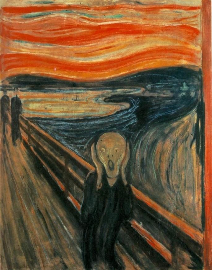 'Крик' (художник Эдвард Мунк, 1893 г.) считается одной из самых знаменитых картин стиля экспрессионизм.