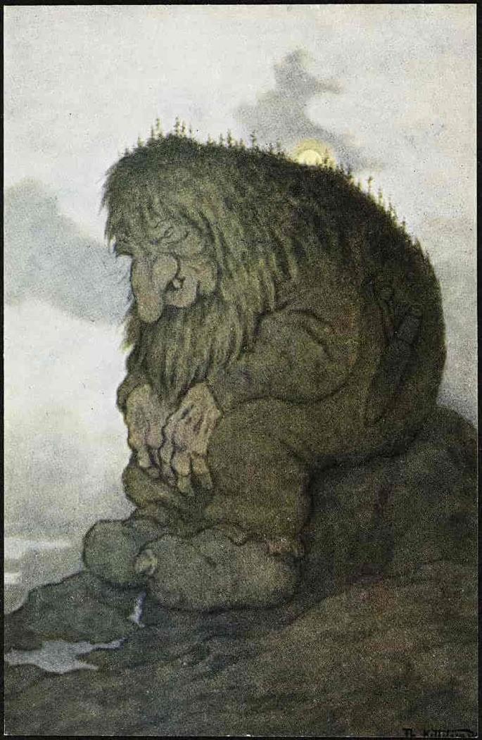 'Тролль, задумавшийся о том, сколько ему лет' Иллюстрация Теодора Киттельсена, 1911