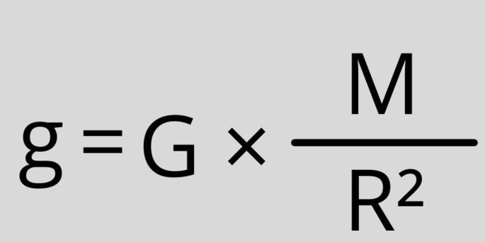 ускорение свободного падения формула g = G × (M/R²)