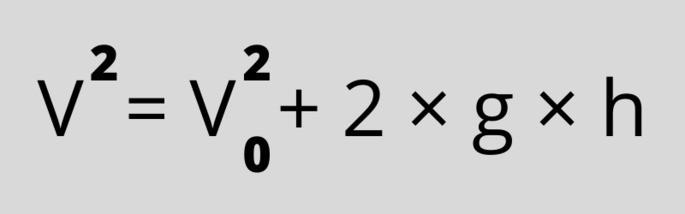 Формула скорости     (V² = V²0 + 2×g×h)